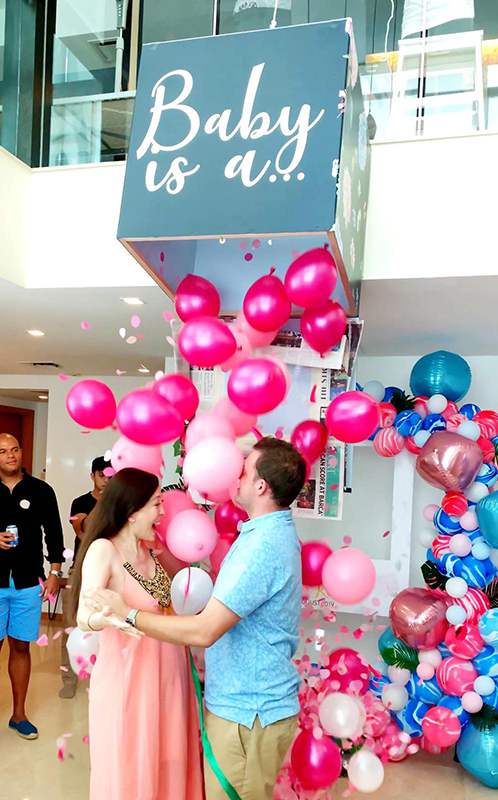 Gender reveal Pink Balloon Drop